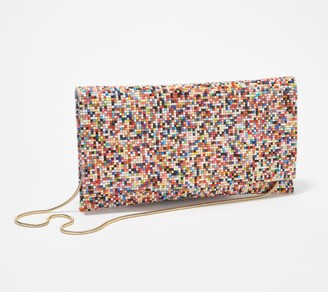 Sondra Roberts Multicolored Bead Foldover Clutch