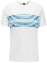 HUGO BOSS - Regular Fit T Shirt With Printed Logo Panel - White