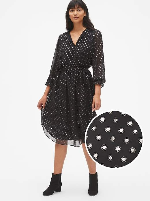 Gap Metallic Print Long Sleeve Midi Dress