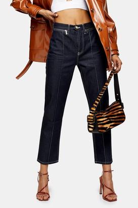 Topshop Womens Indigo Contrast Stitch Editor Straight Jeans - Indigo