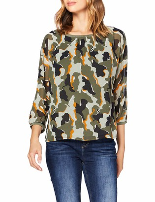 Street One Women's 315273 3/4 Arm 2in1 Chiffonshirt mit Top Camouflage T-Shirt