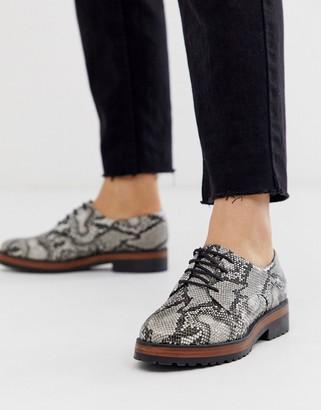 Asos DESIGN Manner flat lace up shoes in snake