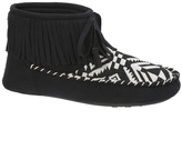Dearfoams Black Geometric Fringe Slipper Boot