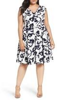London Times Plus Size Women's Lace Inset Floral Fit & Flare Dress