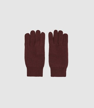 Reiss Glen - Ribbed Knit Gloves in Bordeaux
