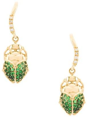 Aurelie Bidermann 18kt gold mini Scarab tsavorite and diamond earrings