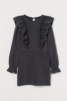 H&M Flounce-trimmed denim dress