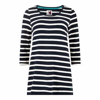 Weird Fish Gillian Jacquard Striped 3/4 Sleeve T-Shirt Dark Navy Size 12