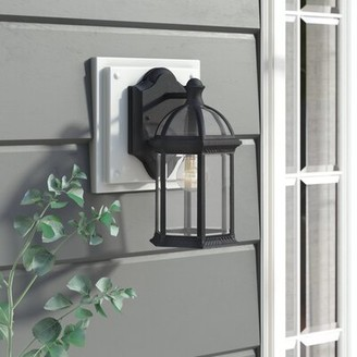 Three Posts Affric Glass Shade Outdoor Wall lantern Fixture Finish: Textured Black