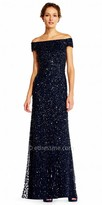 Adrianna Papell Off the Shoulder Sequin Embellished Tulle Evening Dress