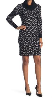 T Tahari Cowl Neck Chevron Print Sweater Dress