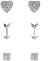 Argentovivo Heart, Arrow & Pyramid Stud Earrings Set - Set of 3
