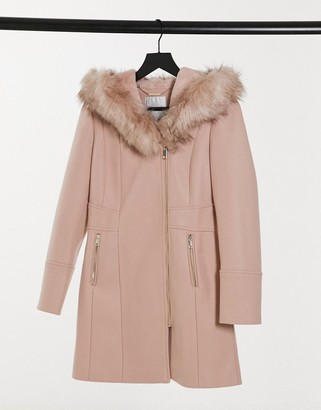 Forever New hooded faux-fur coat in oatmeal