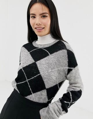 Brave Soul argyle jacquard jumper-Grey