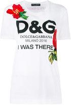 Dolce & Gabbana floral logo print T-shirt - women - Silk/Cotton/Polyamide/Viscose - 36