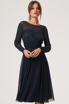 Little Mistress Georgie Navy Hand Embellished Midi Dress