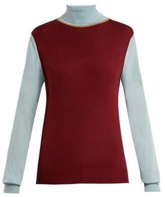 Roksanda Elsta Wool Roll-neck Sweater - Womens - Burgundy Multi