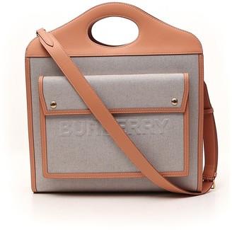 Burberry Two-Tone Medium Pocket Tote Bag