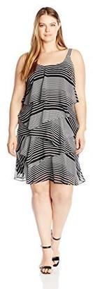 Robbie Bee Women's Plus Size Printed Chiffon Tiered Dress
