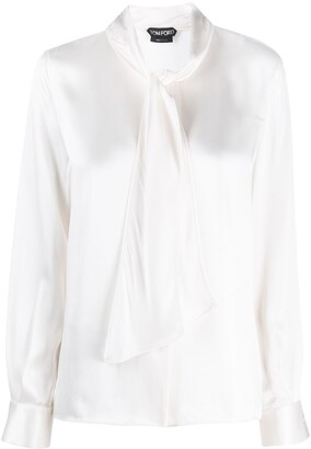 Tom Ford Pussy-Bow Button-Up Blouse
