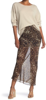Nili Lotan Ella Sheer Silk Cheetah Print Maxi Skirt