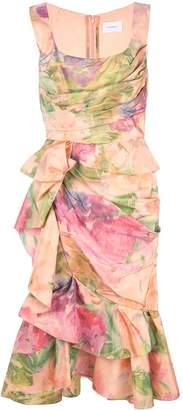 Marchesa printed ruffle dress