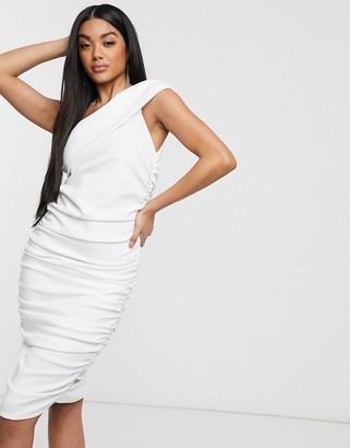 Laced In Love asymmetric pencil dress in white
