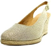 White Mountain Chill Women Pointed Toe Canvas Gold Slingback Heel.