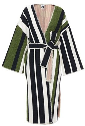 M Missoni Belted Striped Jacquard-knit Wool-blend Cardigan