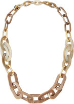 alisha.d Long Marbled Acrylic Link Necklace, Taupe Marble