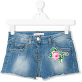 Miss Blumarine TEEN rose patch denim shorts