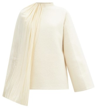 Jil Sander Draped Plisse-panel Cotton-blend Top - Ivory