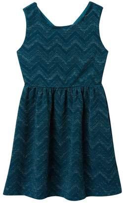 Trixxi Chevron Glitter Bow Back Knit Dress (Big Girls)