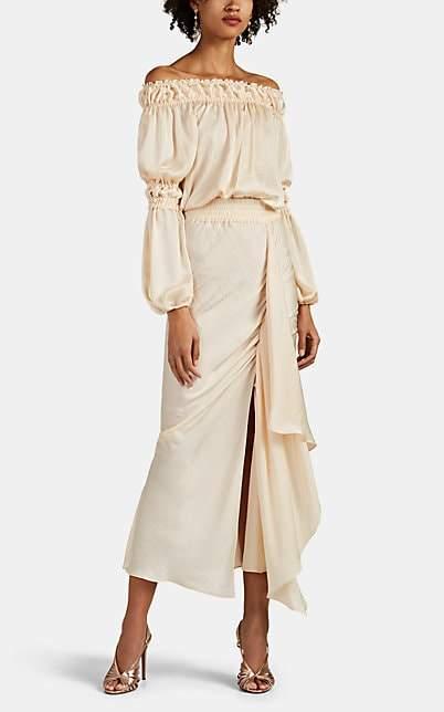 Juan Carlos Obando Women's Washed Satin Off-The-Shoulder Dress - Beige, Tan
