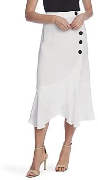 Vince Camuto Side-Button Flounce Skirt