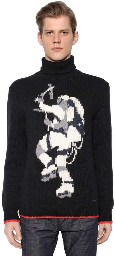 DSQUARED2 Intarsia Wool Blend Sweater