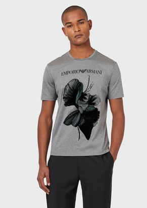 Emporio Armani Mercerised-Jersey T-Shirt With Flocked Print