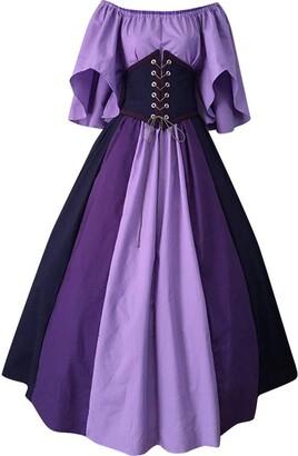 millenniums Women Medieval Gothic Patchwork Lace Sexy Dress Plus Size