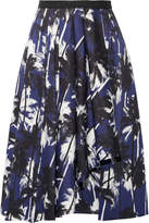 Jason Wu Grosgrain-trimmed Printed Cotton-poplin Skirt - Navy