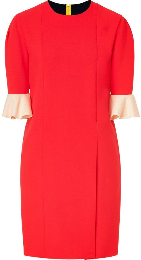 Roksanda Ilincic Red and Navy Colorblock Wool Crepe Dress