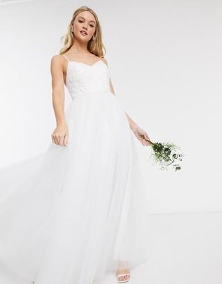Y.A.S Wedding maxi dress in white tule