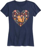 Scandinavian Instant Message Women's Women's Tee Shirts NAVY - Navy Fox Floral Heart Relaxed-Fit Tee - Women