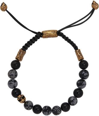 John Varvatos Onyx and Skull Bead Bracelet