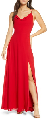 Sequin Hearts Lace-Up Back Chiffon Gown