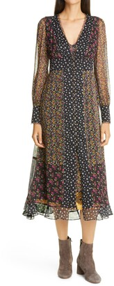 le superbe Magnolia Lane Metallic Thread Floral Mix Print Long Sleeve Chiffon Dress