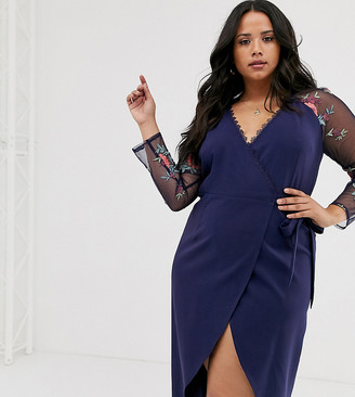 Little Mistress Plus wrapover pencil dress with embroidered sleeve detail in navy