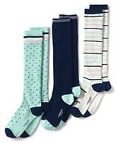 Lands' End Women's Seamless Pattern Trouser Socks (3-pack)-Black Argyle
