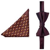 Tommy Hilfiger Fox & Herringbone Silk Bow Tie & Pocket Square Set