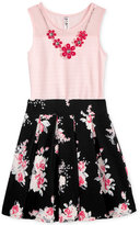 Beautees 2-Pc. Bodysuit & Floral-Print Skirt Set, Big Girls (7-16)