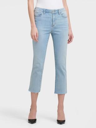 DKNY Women's Mid-rise Slim Straight Crop Jeans - Faded Denim - Size 25